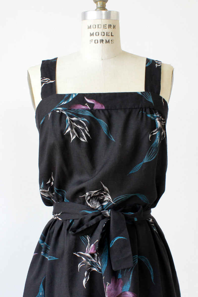 70s Dark Lily Sundress M/L