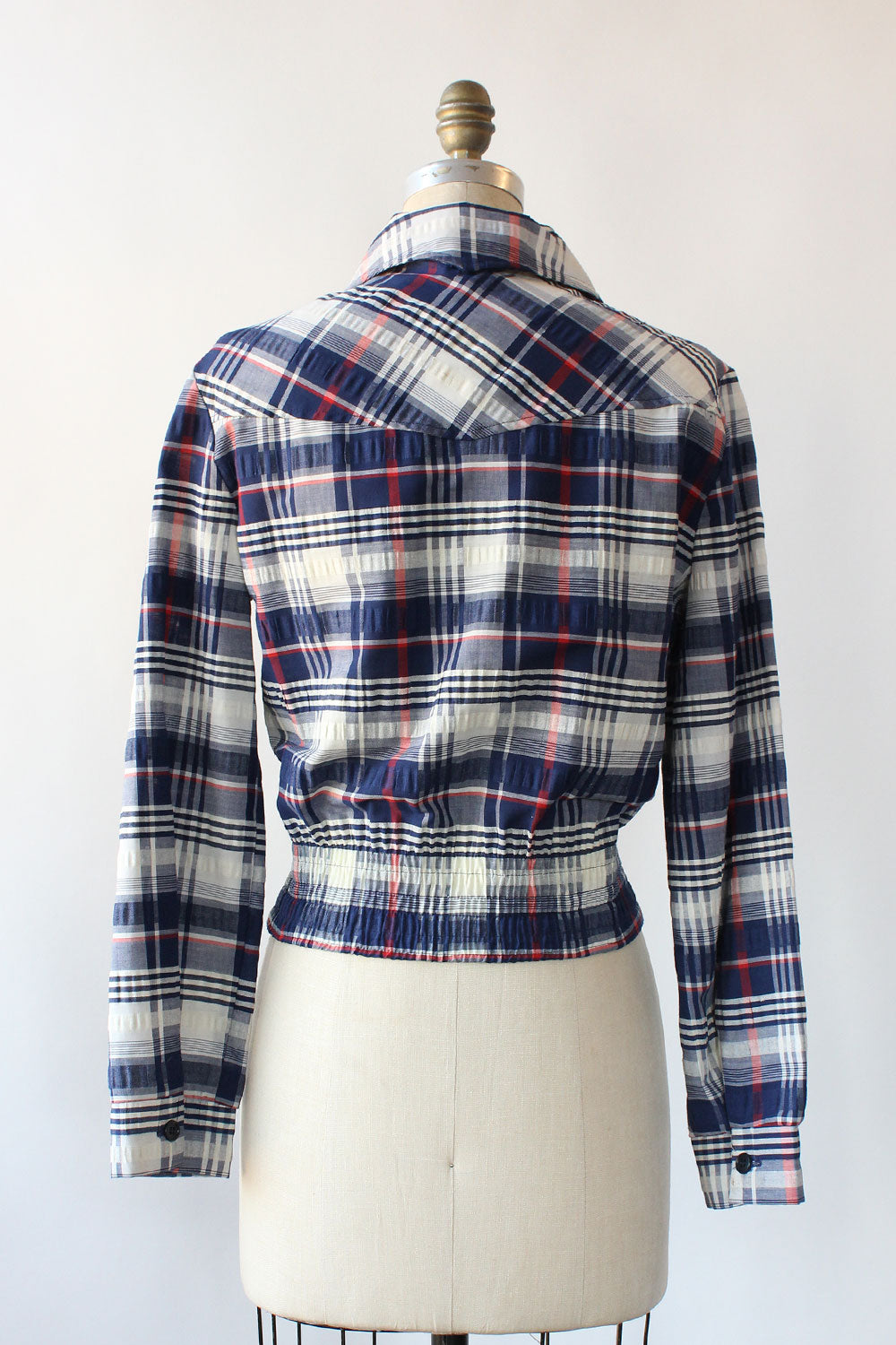 Cropped Blue Plaid Jacket S/M