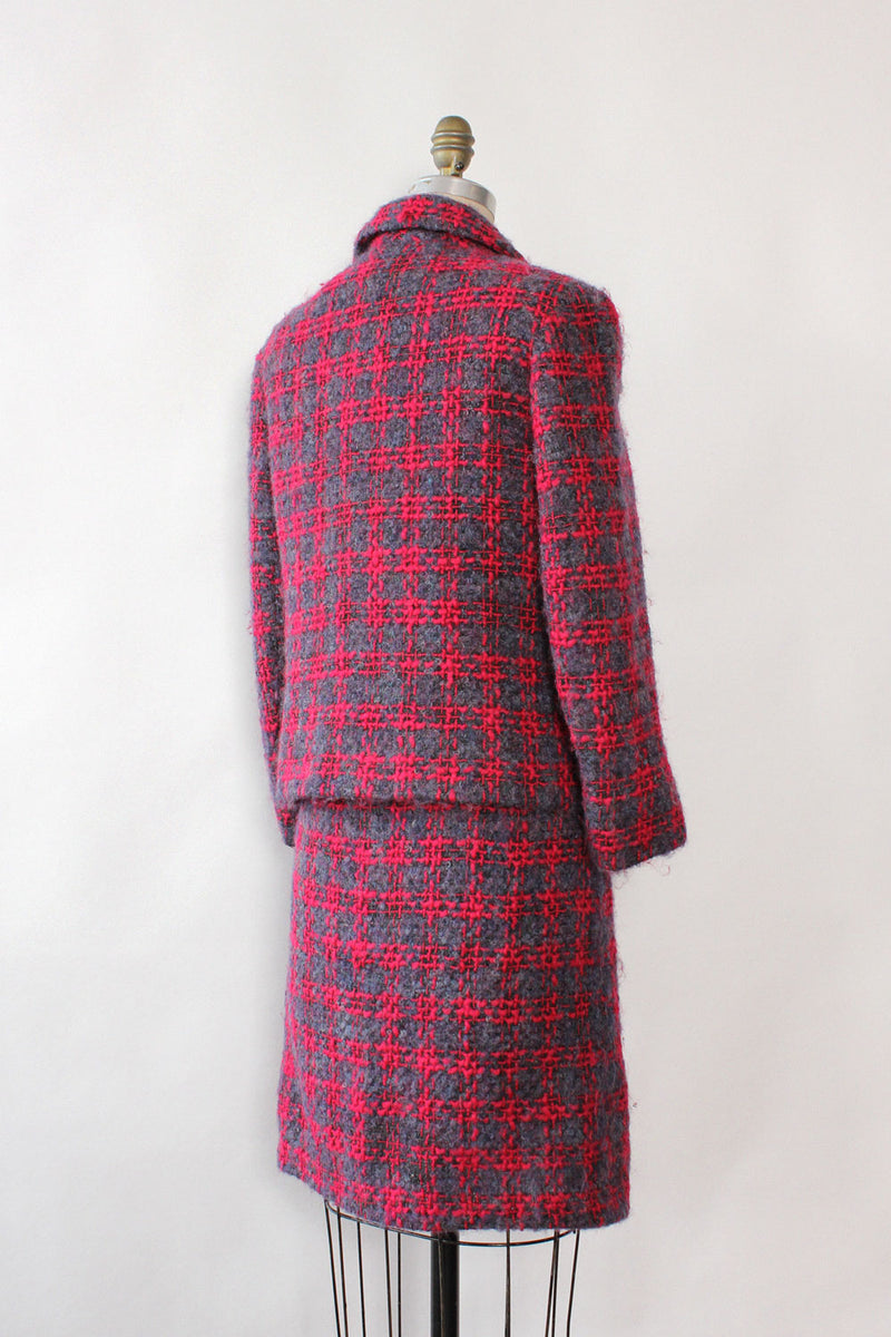 Nubby Woven Plaid Skirt Suit XS