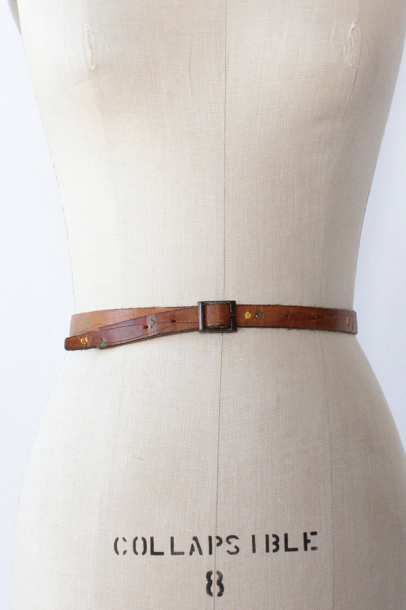 Ditsy Floral Thin Leather Belt