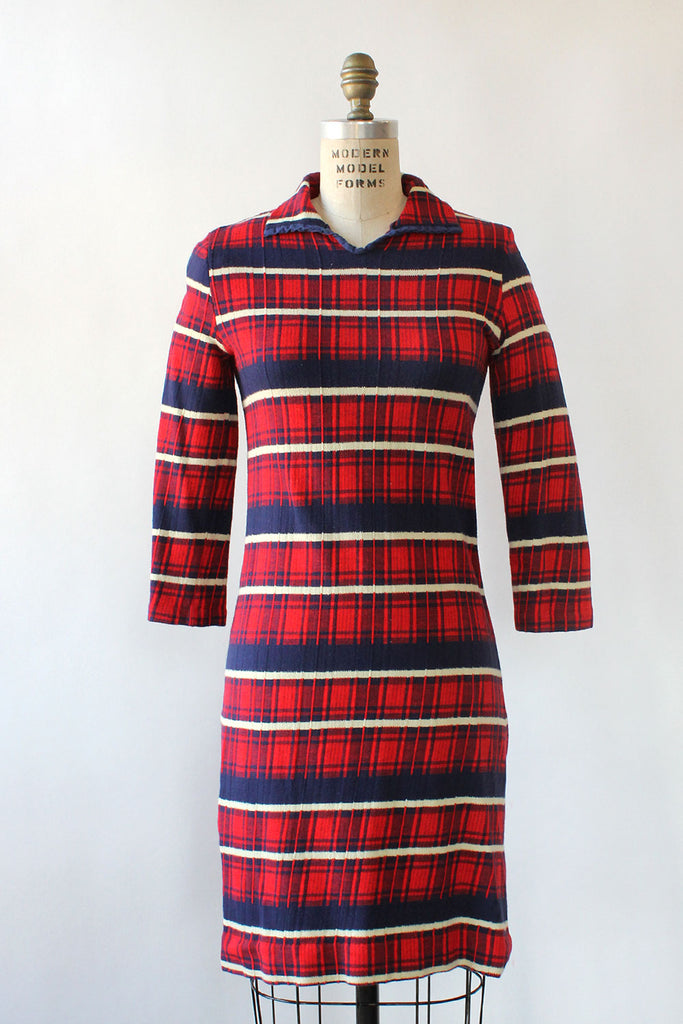 College Plaid Knit Dress M