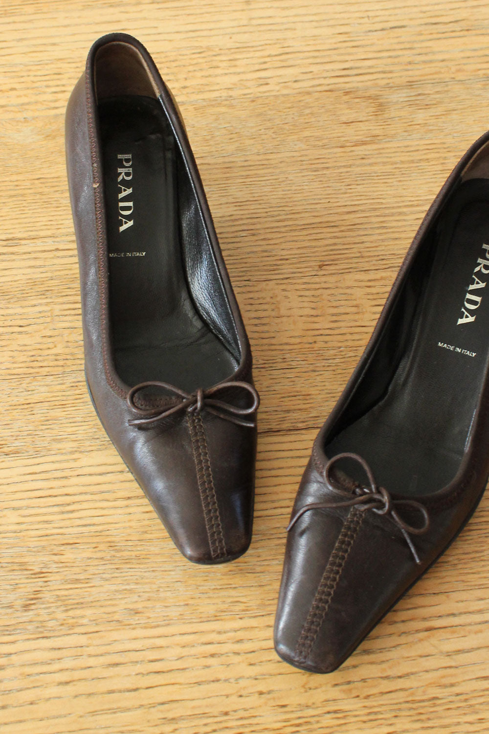 Prada Leather Bow Heels 5-5.5