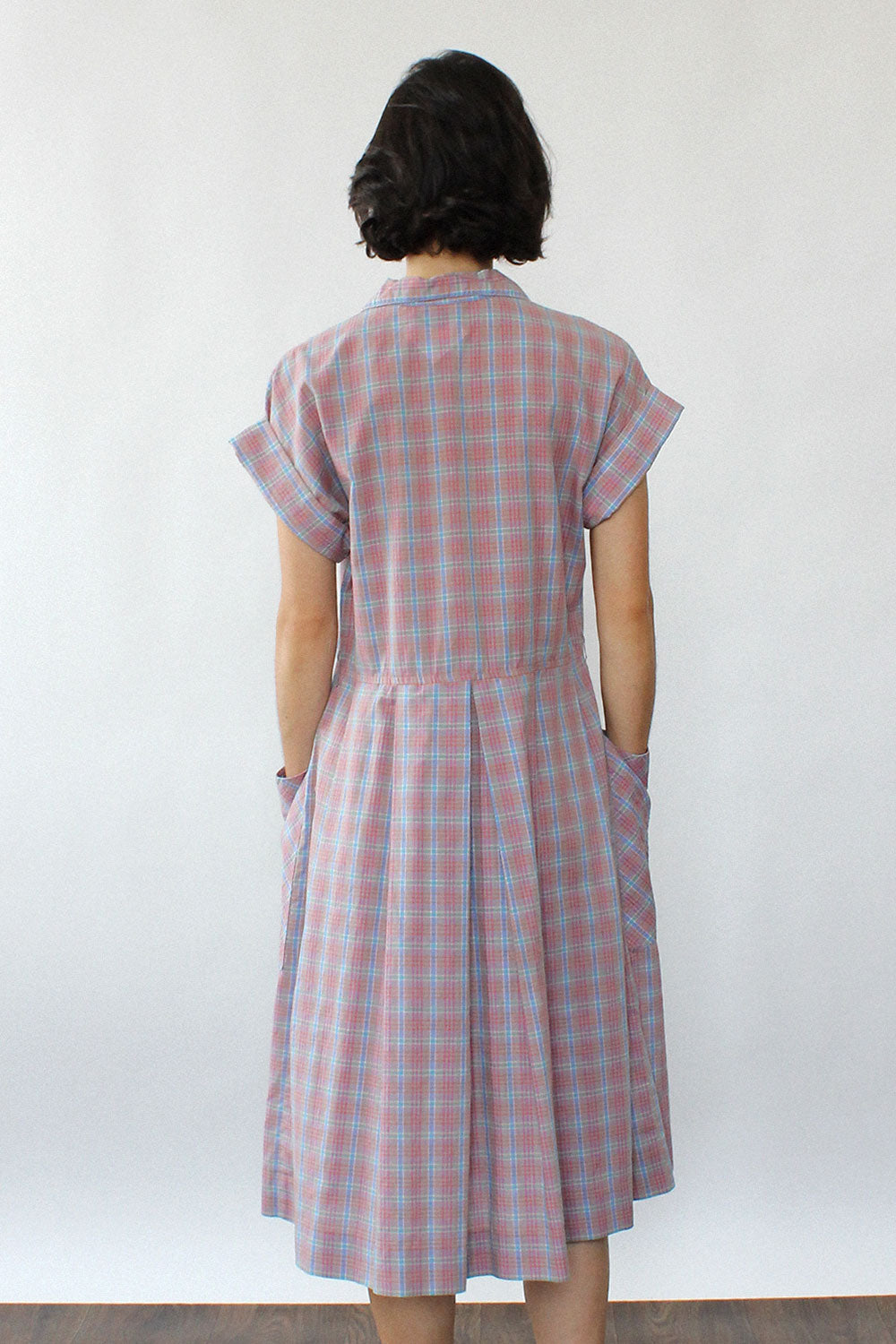 Mauve Plaid Pocket Dress S/M