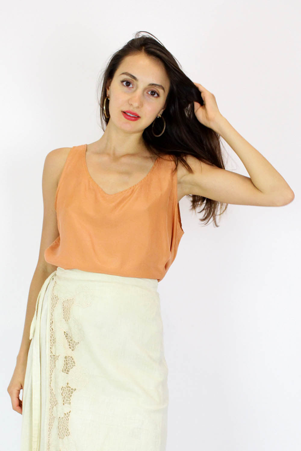 orange silk tank top