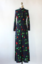Navy Knit Floral Maxi Dress XS/S