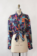 Silk Splash Drapey Buttondown M/L