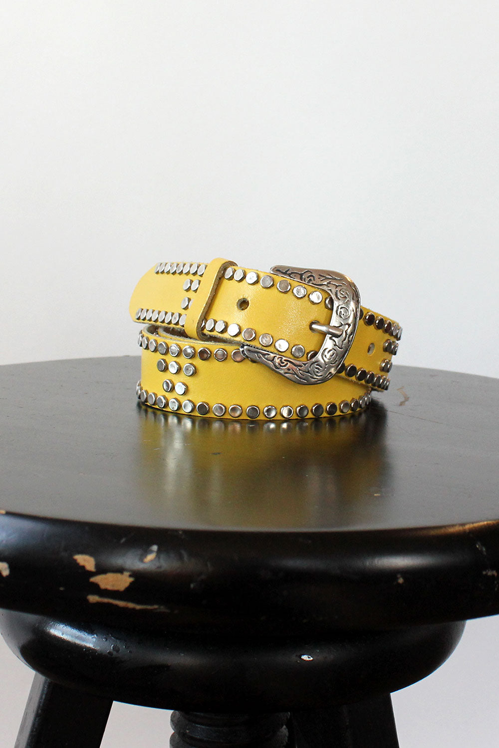 Yellow Studded Leather Belt