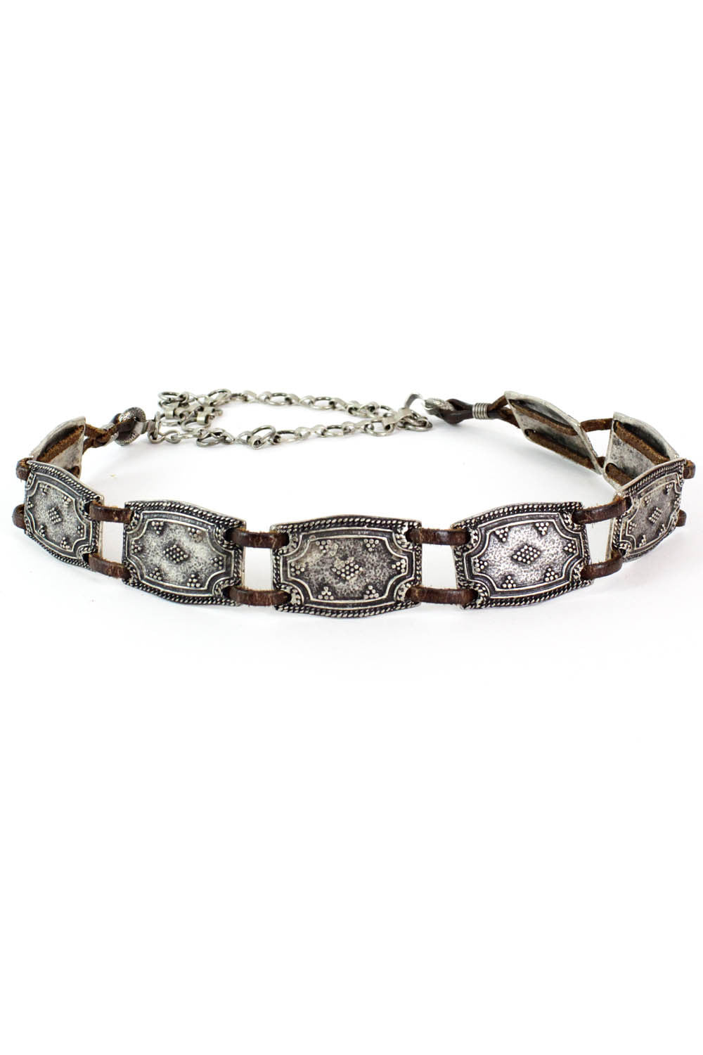 Cast Metal & Leather Belt