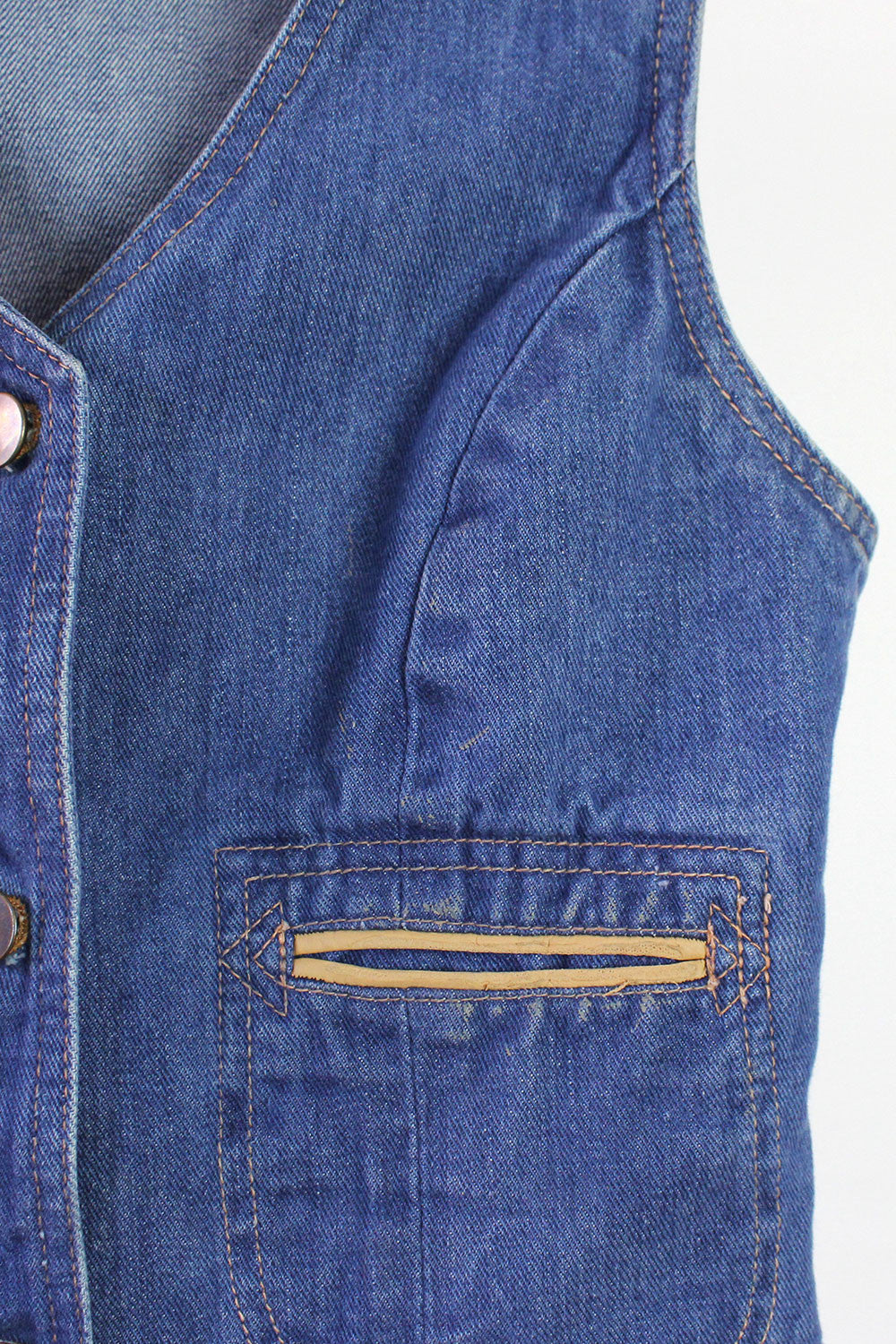 70s Crop Denim Vest S