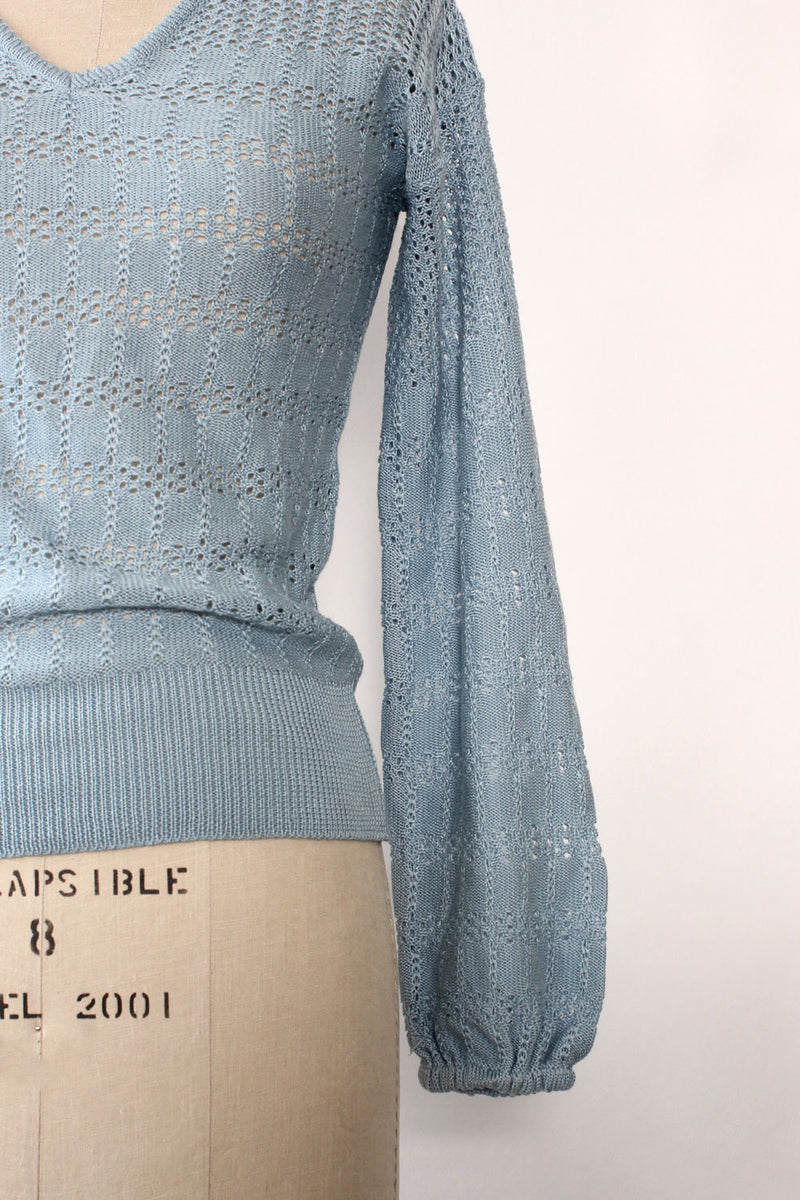 Baby Blue Pointelle Sweater S/M