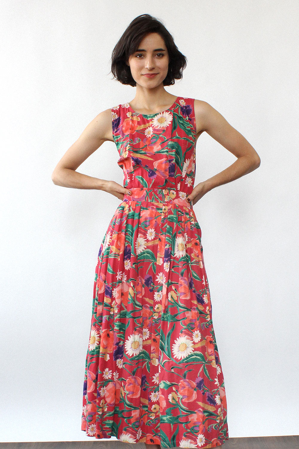 Strawberry Floral Crossback Dress S