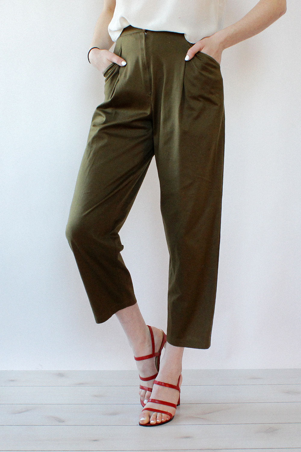 Charles Jourdan Olive Crop Trousers XS/S