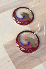 Enamel Wave Silhouette Earrings