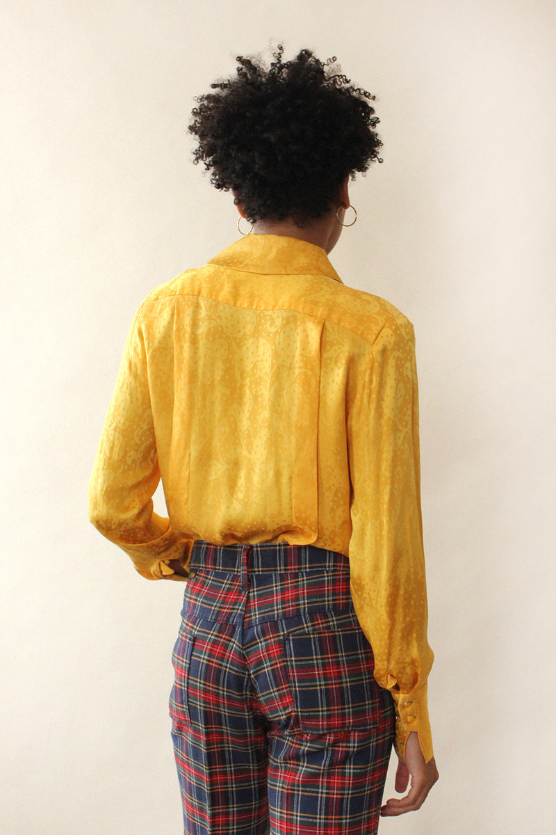 Honey Silk Jacquard Blouse M