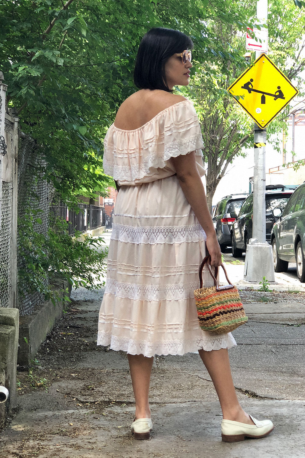 Mexican Crochet Trim Dress M/L