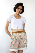 August Floral Pleated Shorts S