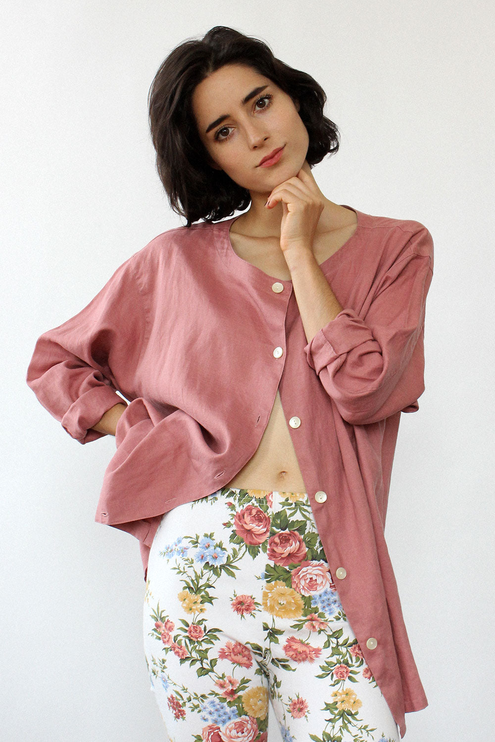 Rose Linen Slouchy Buttondown S/M