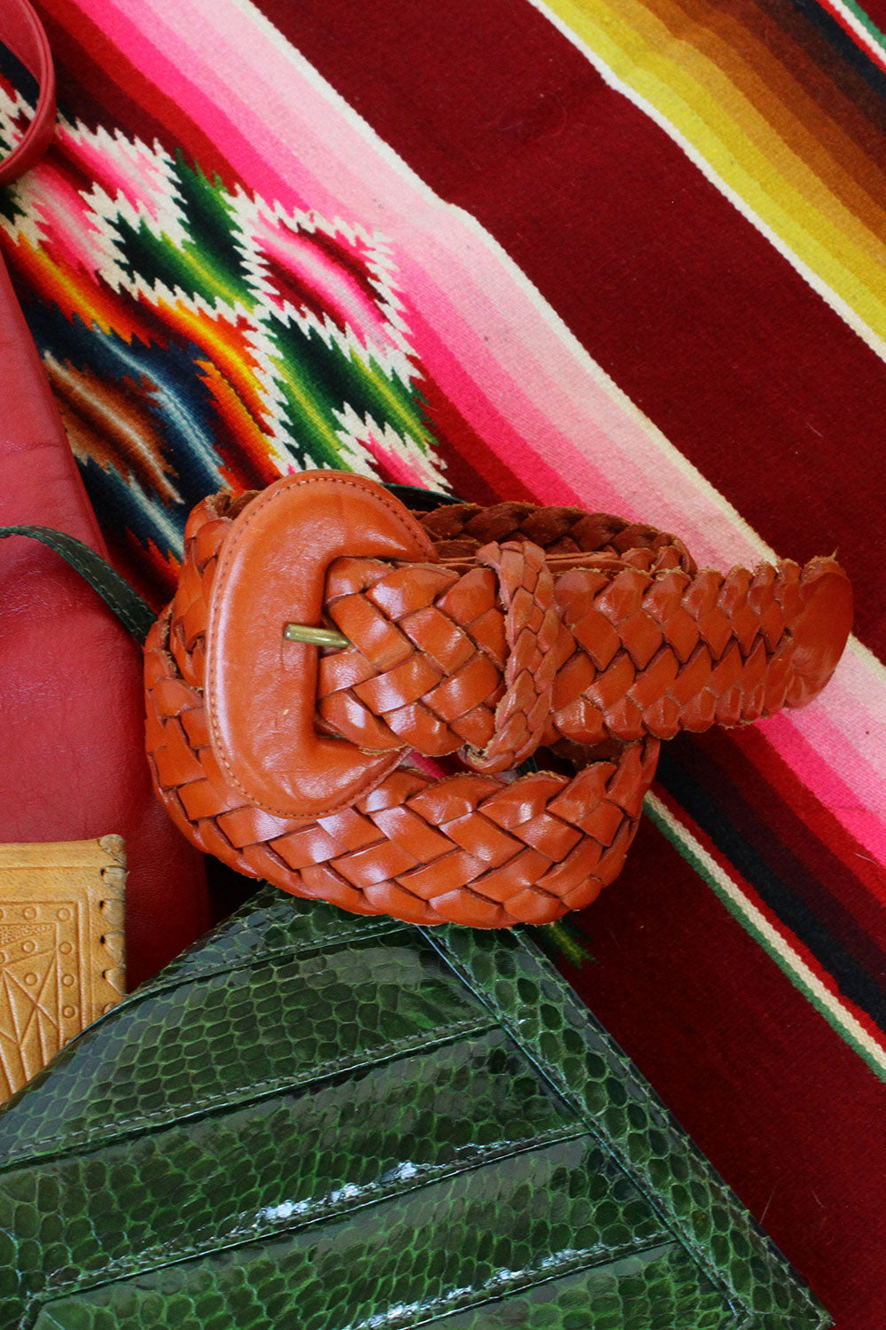 Pumpkin Braided Leather Belt