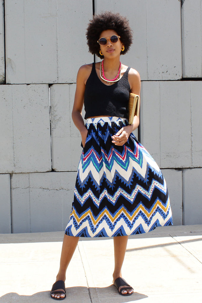 Peak and Valley Midi Skirt