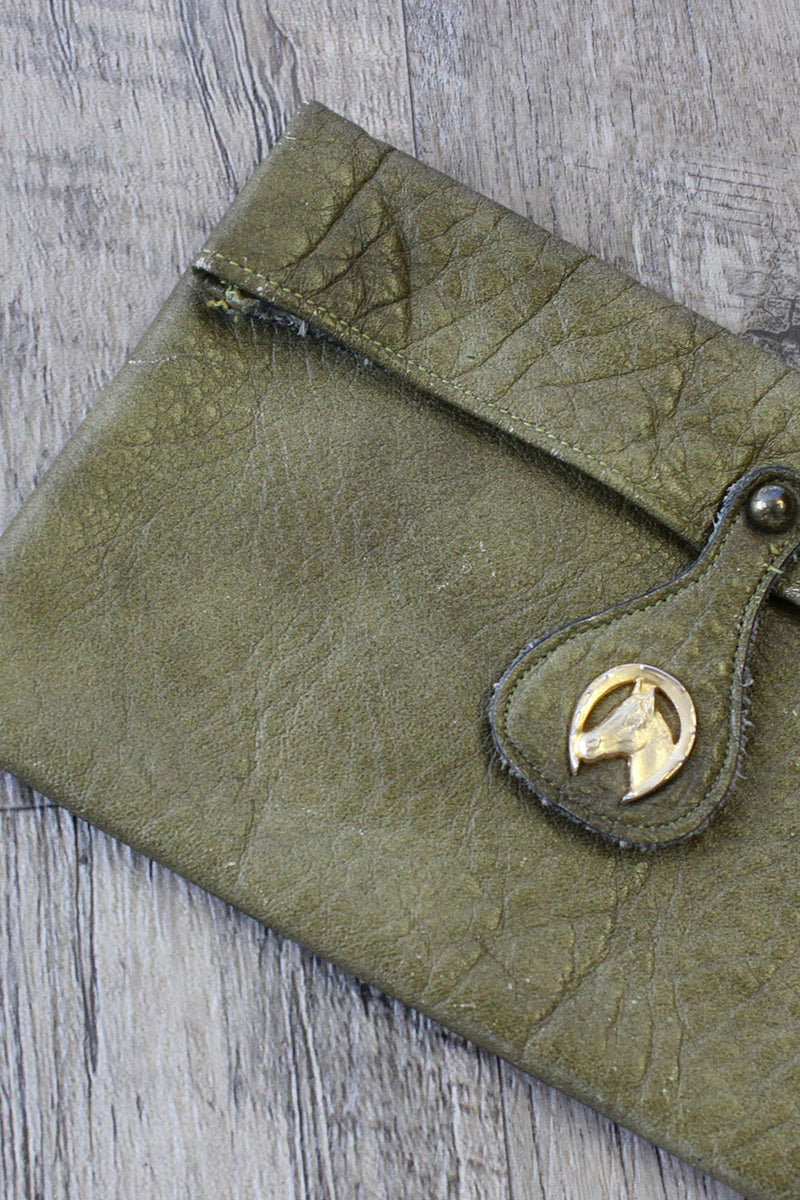 Moss Leather Horse Emblem Pouch