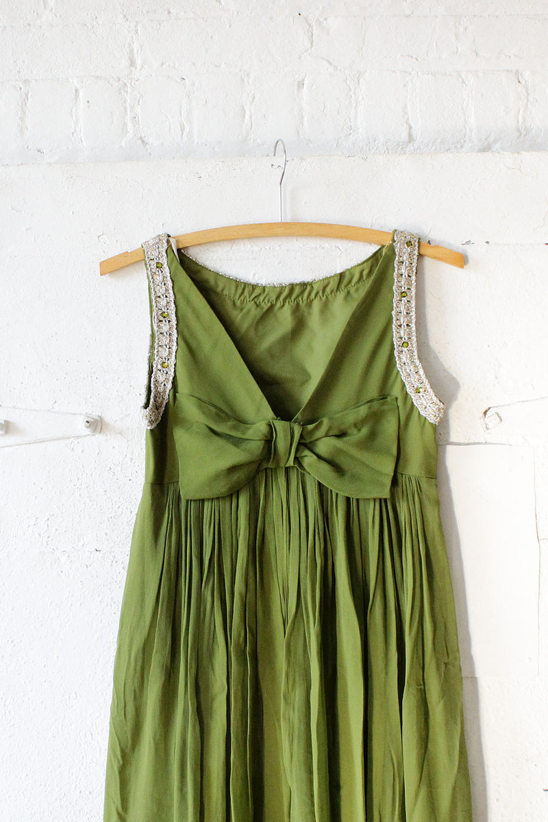 Moss Chiffon Bow Back Dress XS