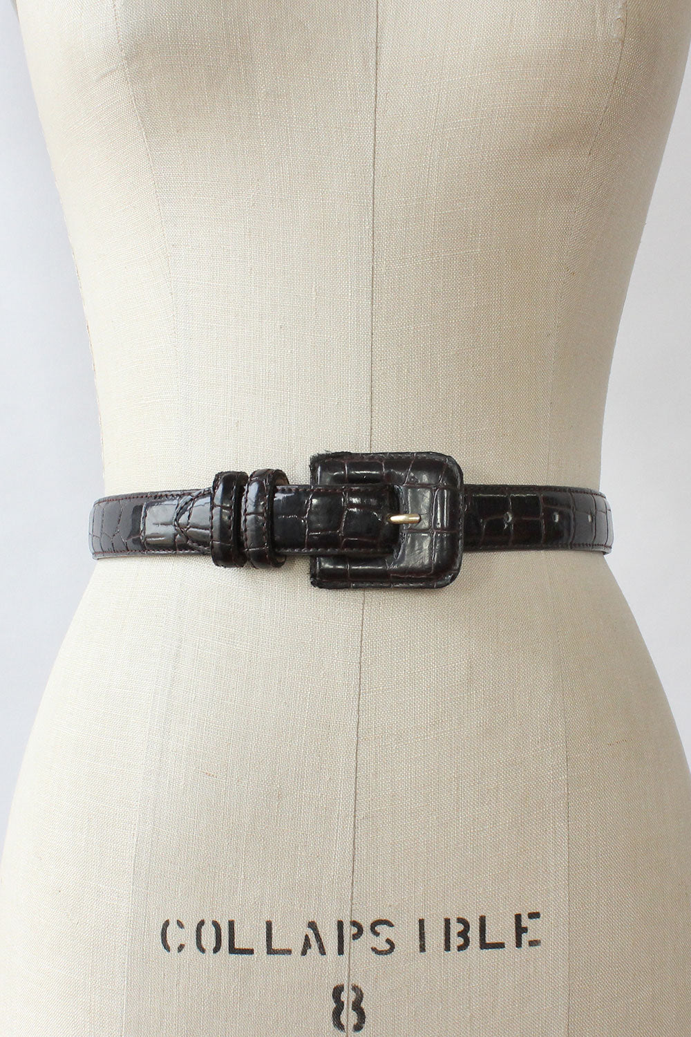 Glossy Croc Leather Belt