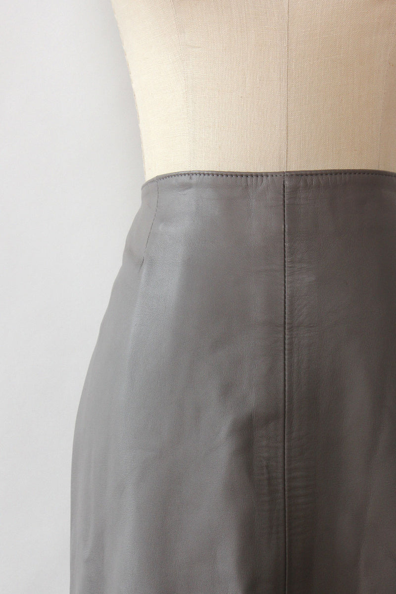 Stone Gray Leather Skirt L