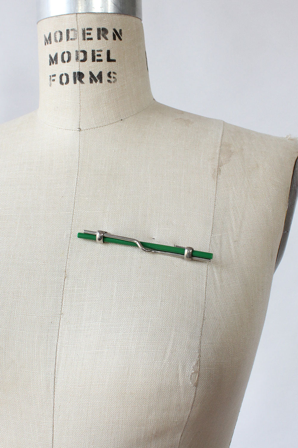 Modernist Green Bar Brooch