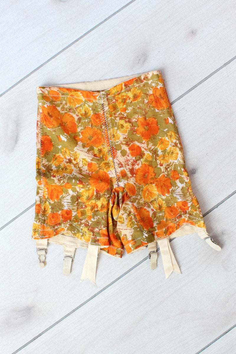 Warnerette Floral Girdle Shorts XS/S