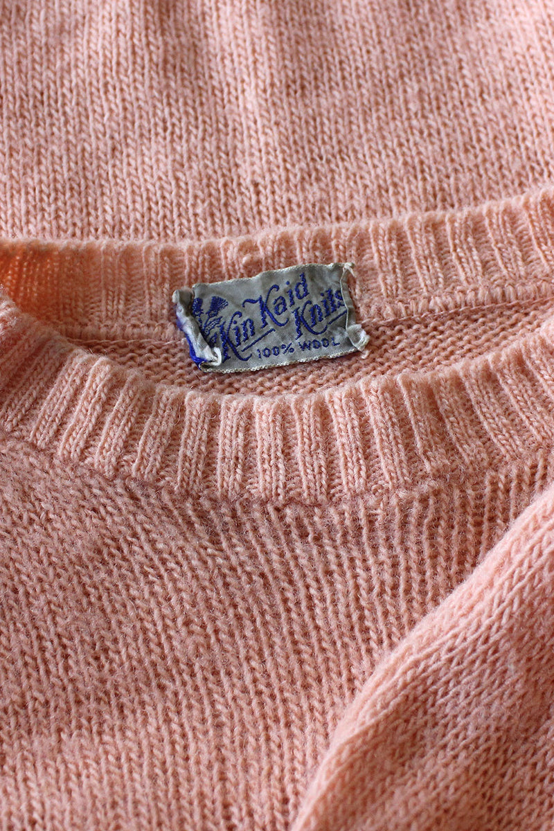 Peachy Pink Wool Sweater XS-M