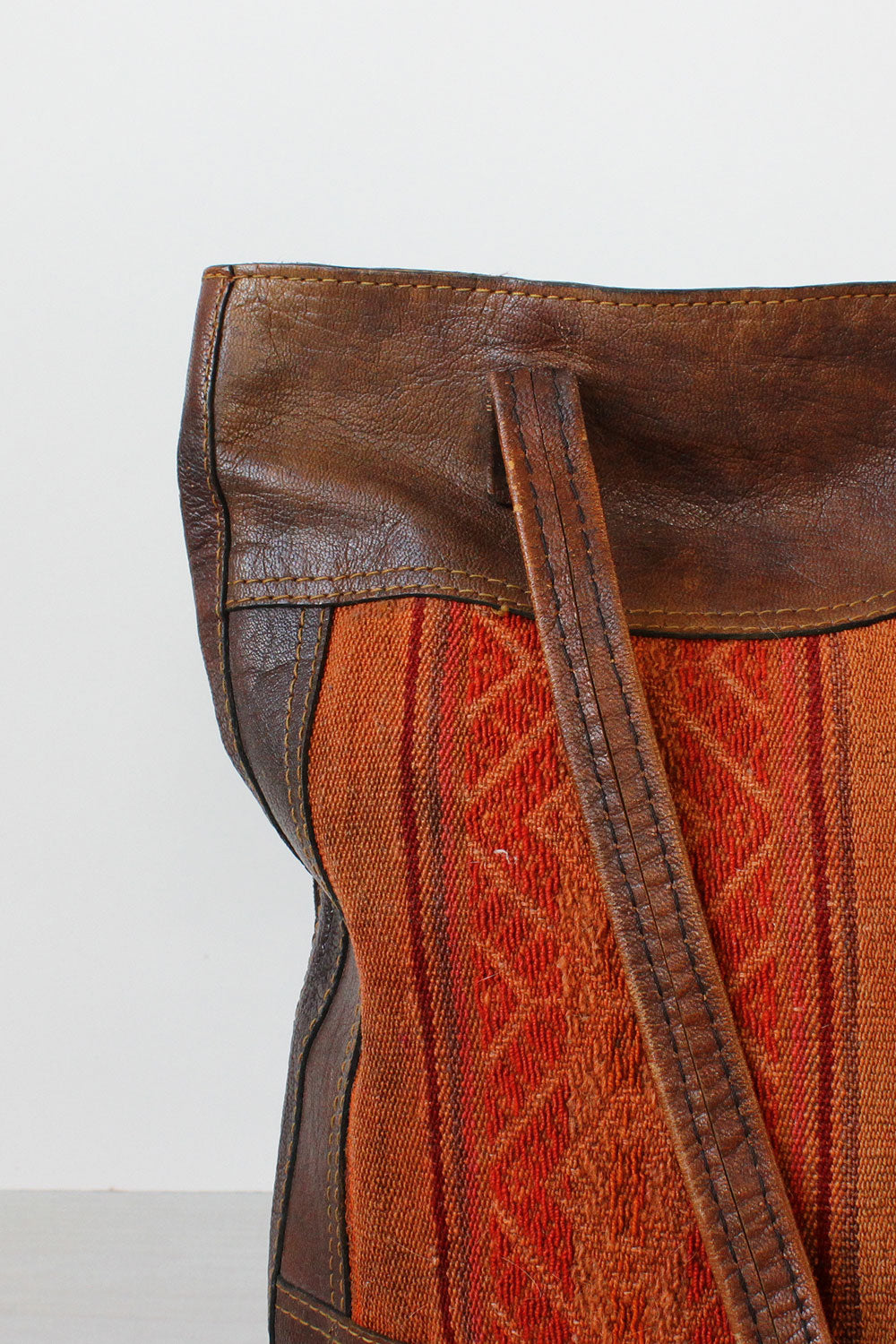 Tapestry and Leather Tote Bag