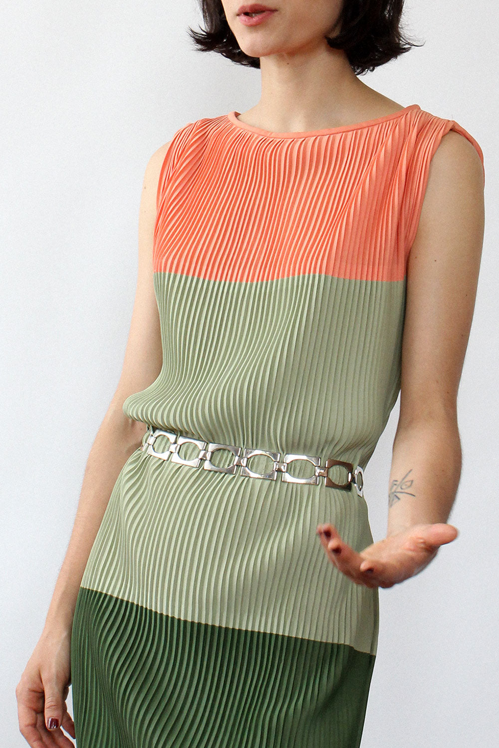 Watermelon Color Block Pleated Dress XS-M