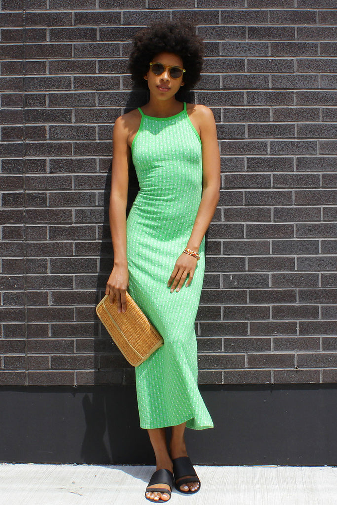 Green Summer Knit Maxi Dress XS
