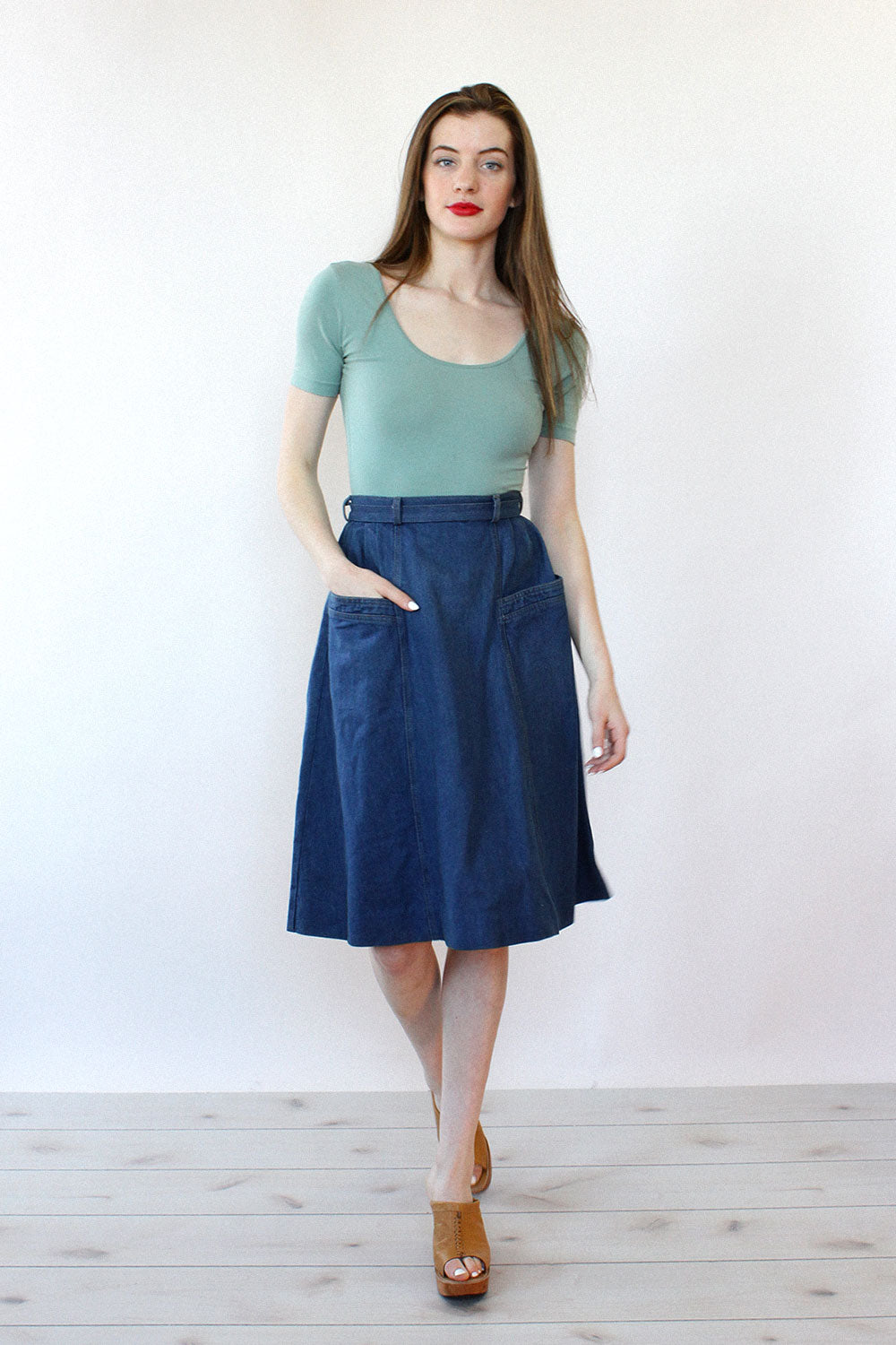 Brittania Denim Pocket Skirt S/M