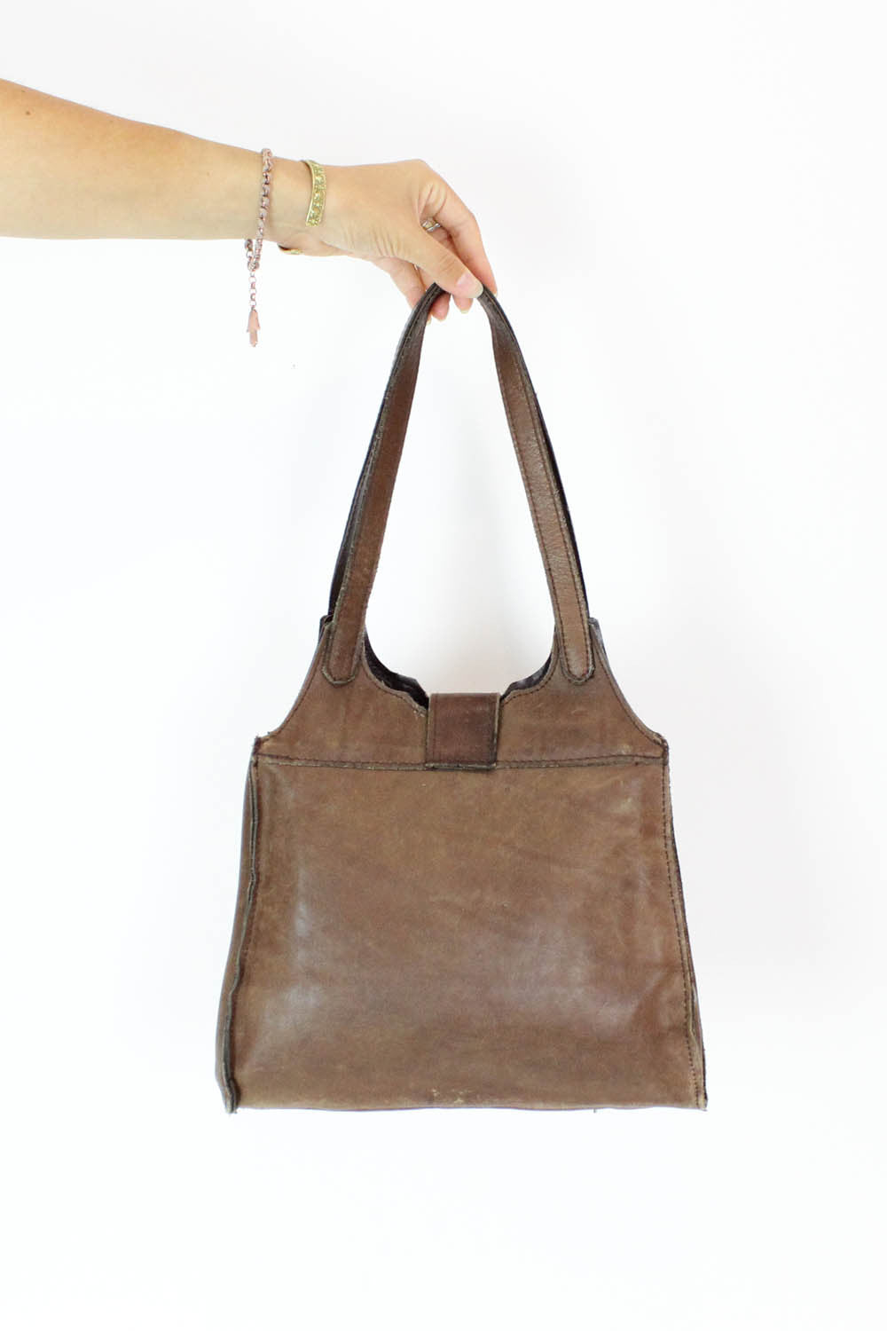 70s Walnut Leather Tote