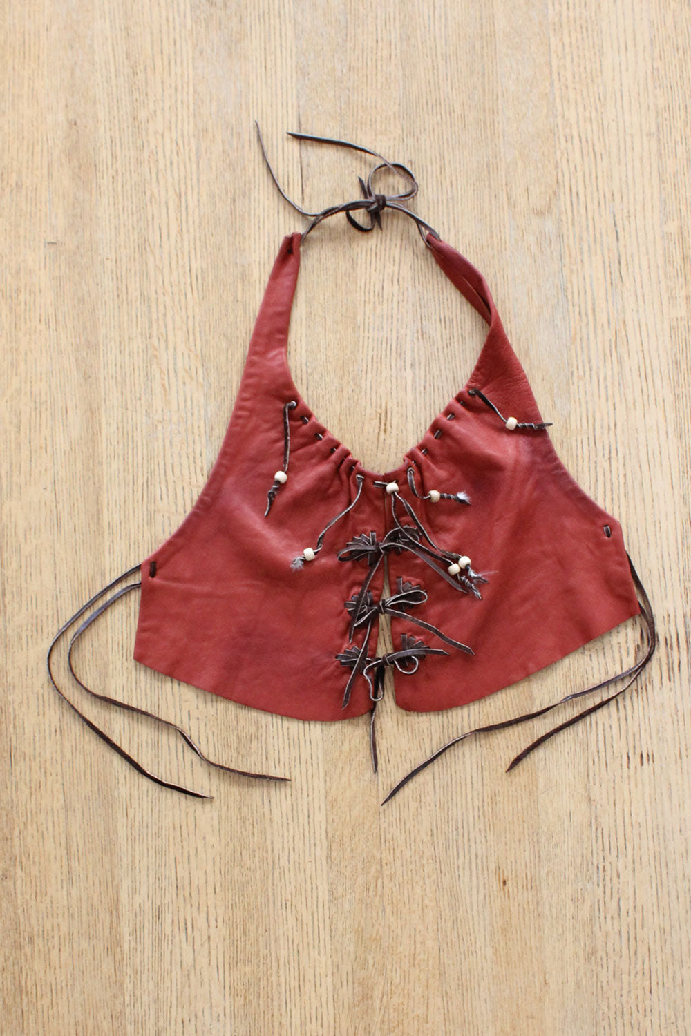 Burnt Orange Leather Halter Top XS-M