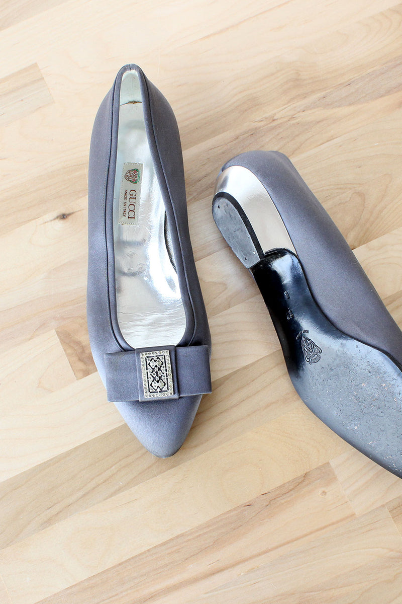 Gucci Pewter Satin Slippers 8 1/2