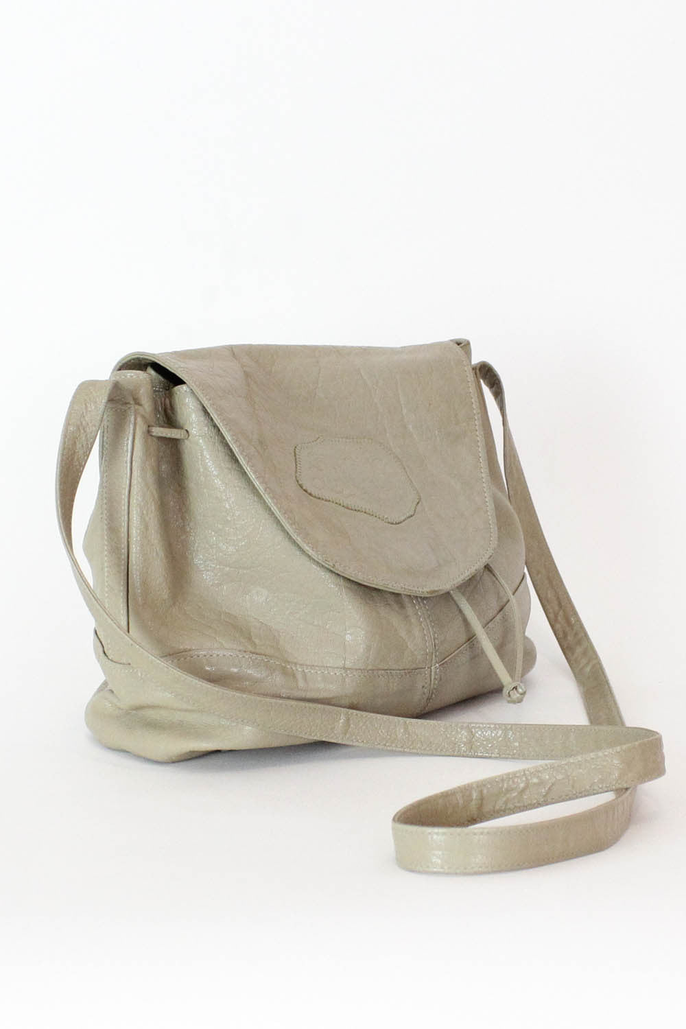 Carlos Falchi Pebbly Leather Taupe Cinch Purse