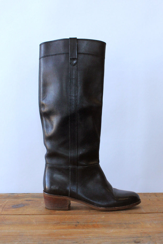 1970s Jet Leather Knee High Boots 6-6.5
