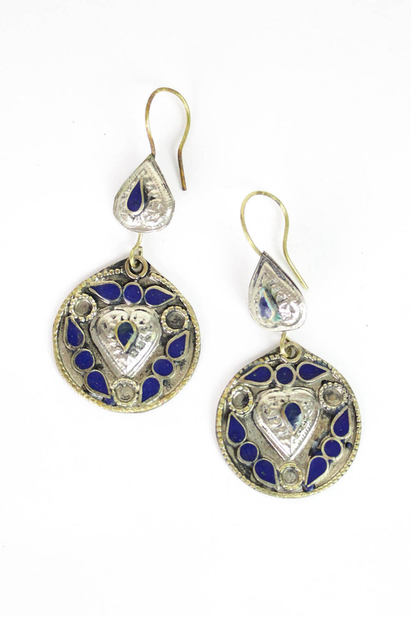 Lapis Medallion Earrings
