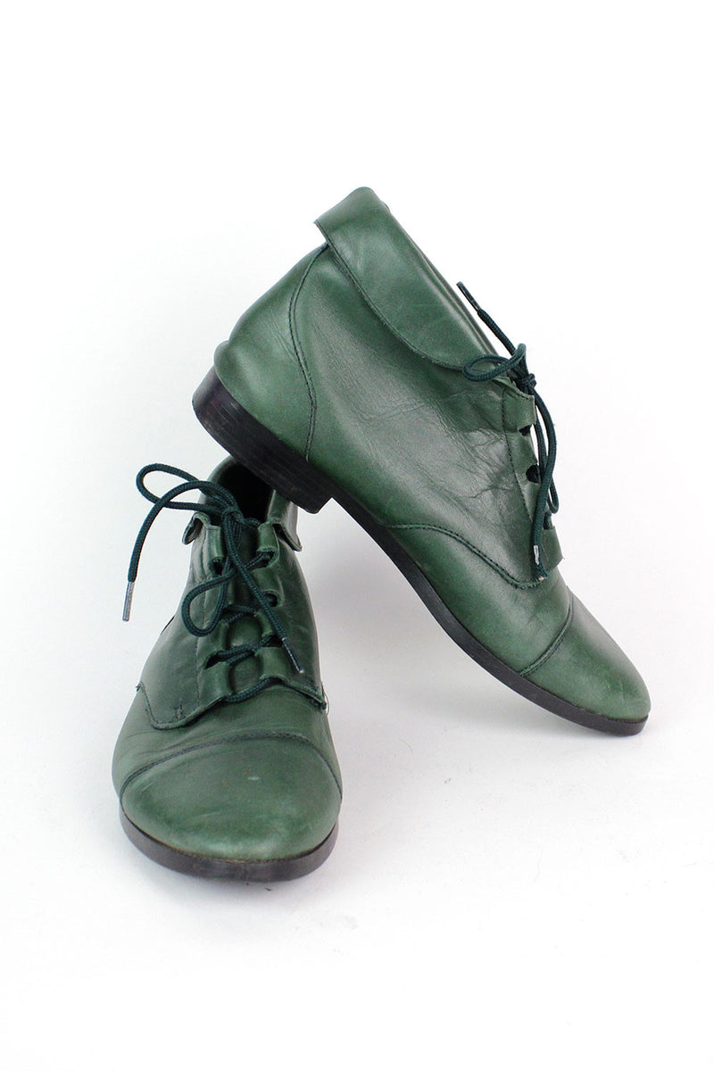 Green Leather Lace-up Boots 8