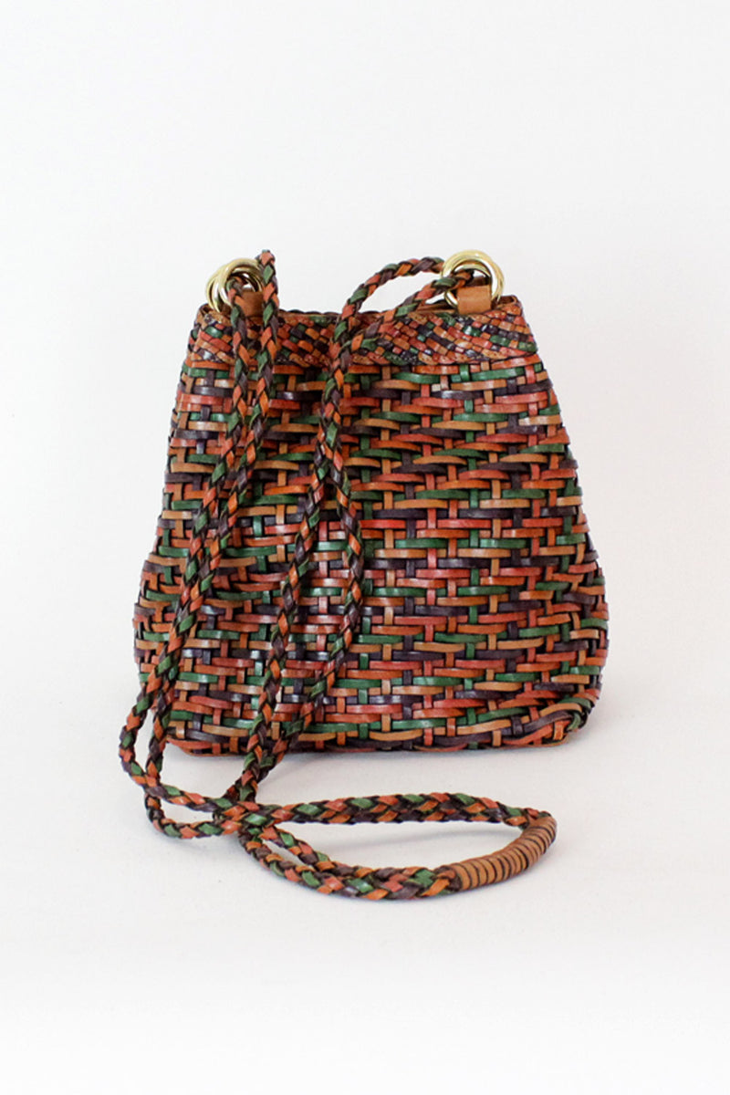 woven leather bucket bag