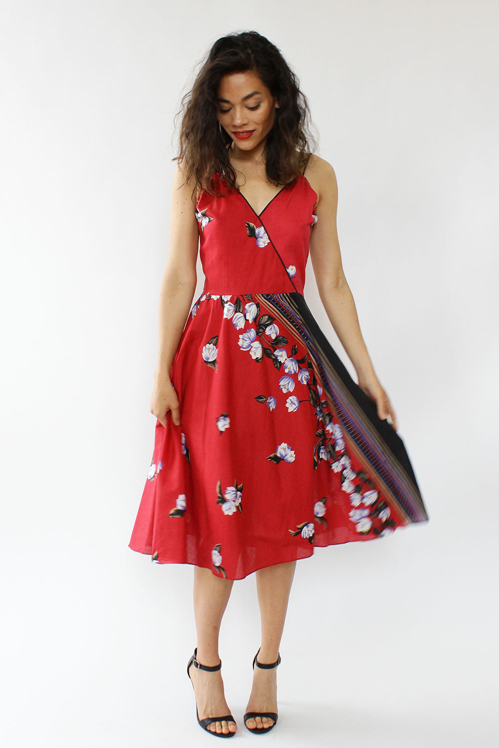 Deux Red Tropical Dress M