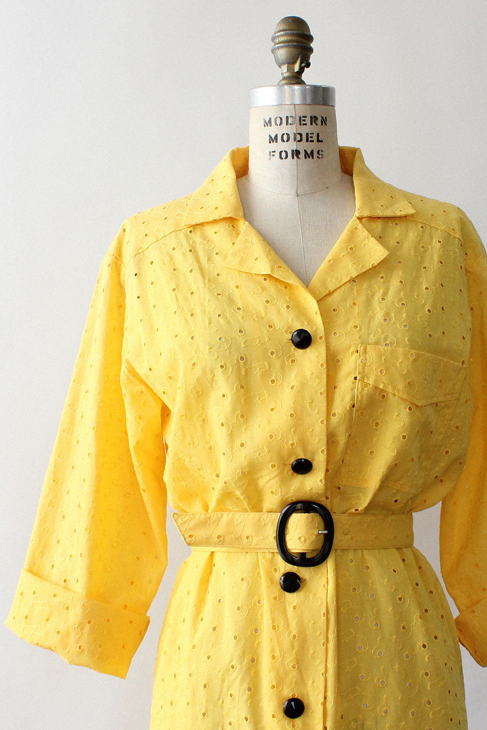 Lemon Eyelet Shirtdress L