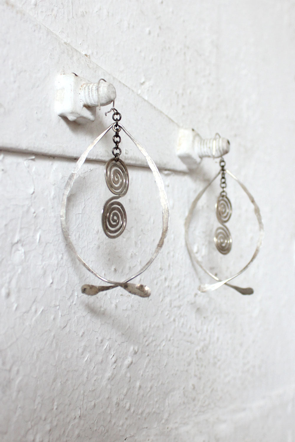 Hammered Aluminum Wishbone Earrings