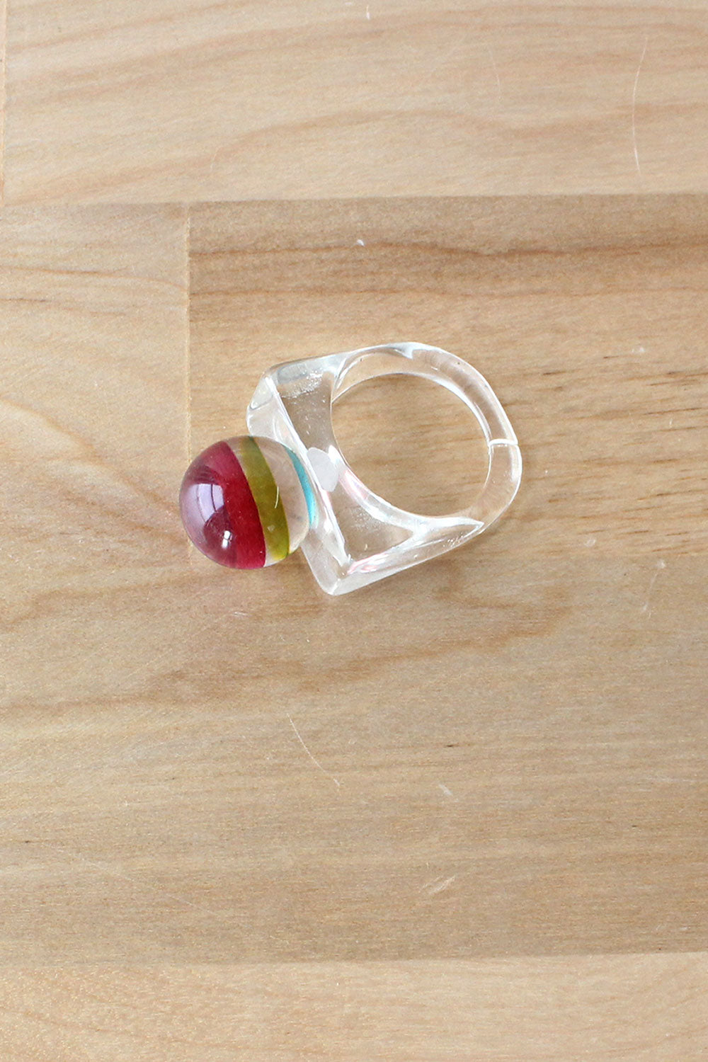 Lucite Striped Ring