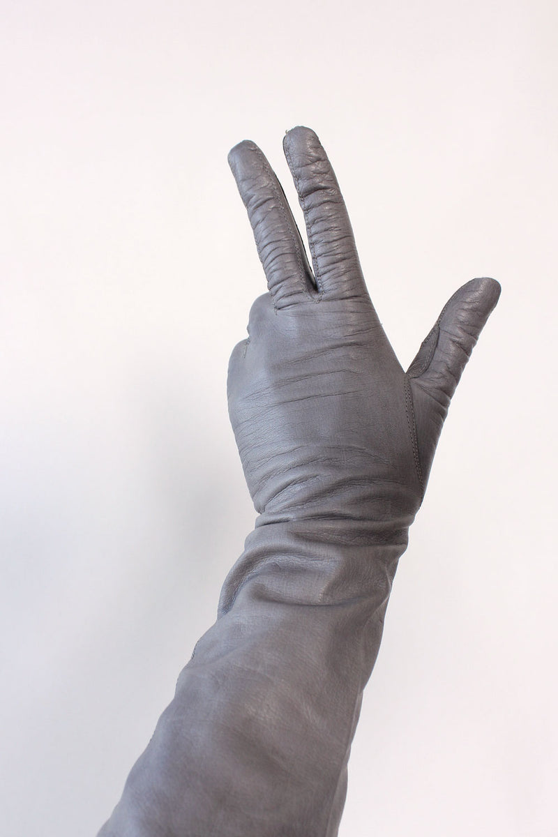 Smoke Leather Elbow Gloves