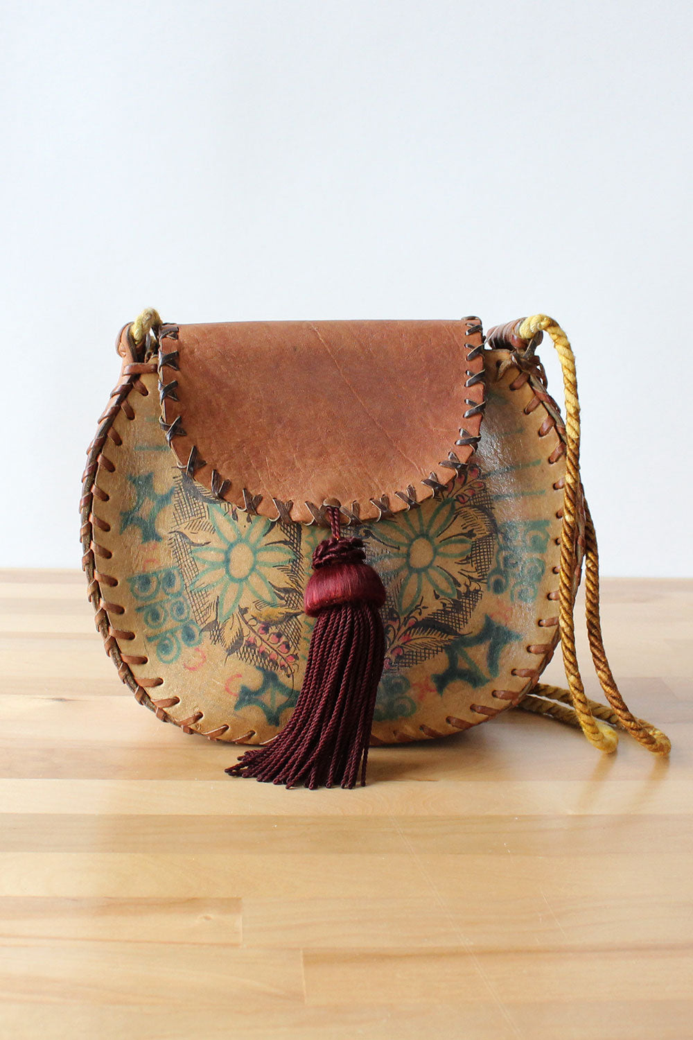 Char Painted Leather Saddle Bag