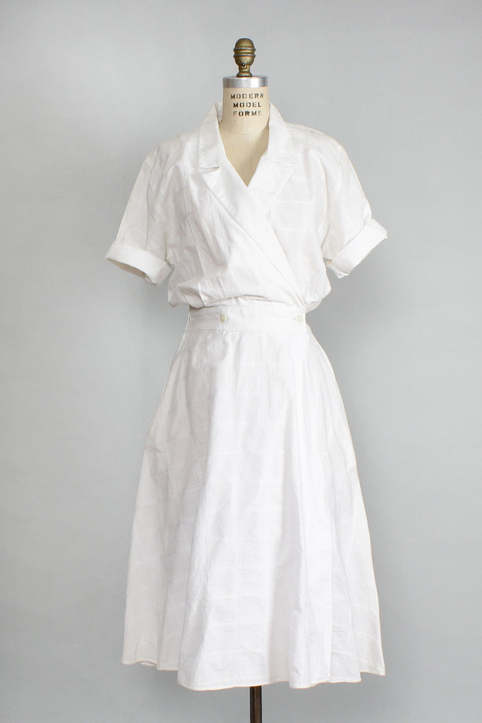 White Cotton Day Dress L