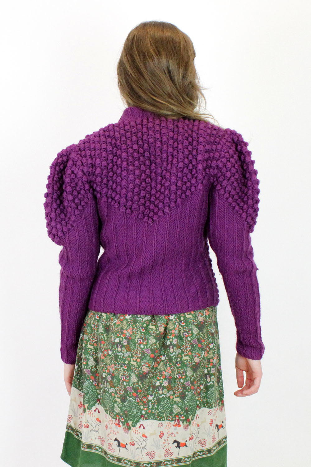 SALE... puffed knit grape cardigan M